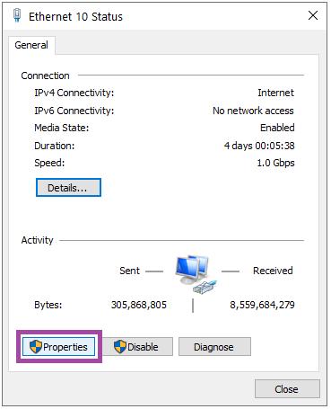 پنجره status کارت شبکه