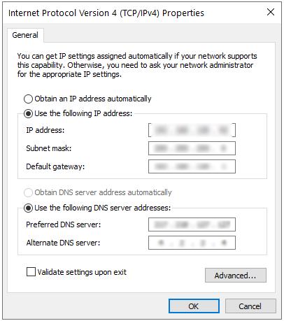 تنظیم آدرس IP به صورت دستی