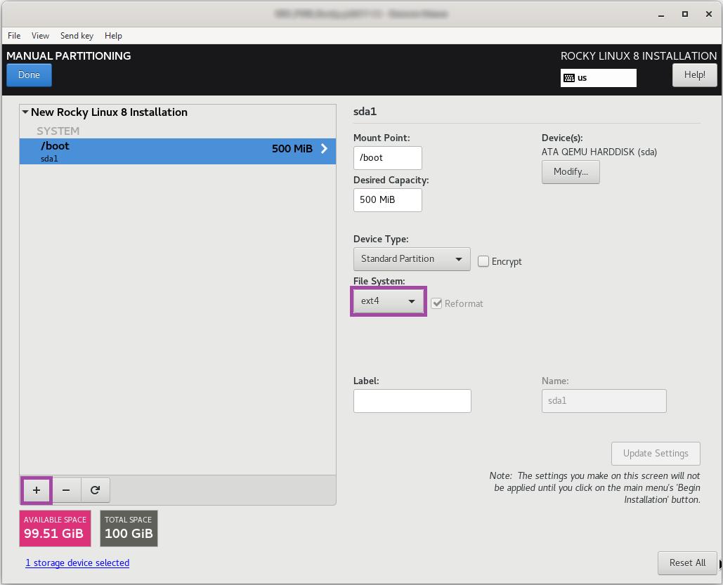 انتخاب file system برای پارتیشن boot